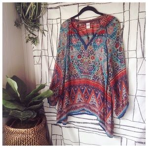 Bila Paisley Bohemian Beaded Sequin Peasant Top